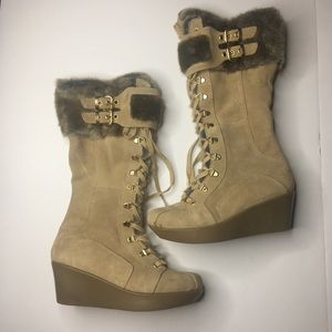 REPORT Cascade suede faux fur wedge boots